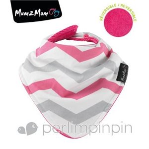Fashion Bandana-Réversible Chevron Rose Gris